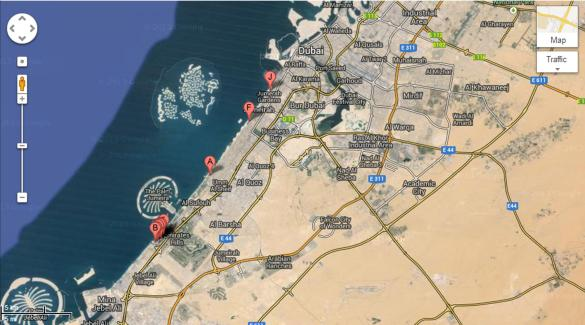 Jumeira beach map from googlemap.com