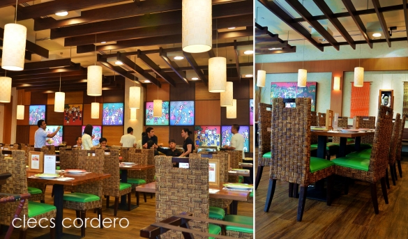 Barrio Fiesta's Pinoy designed interior with its chairs made from native materials.