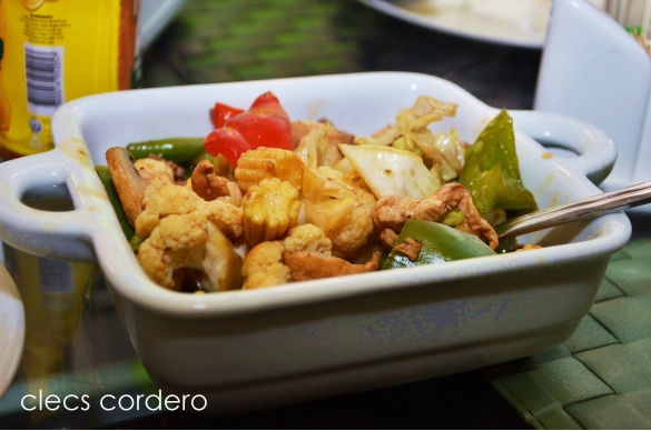 Chopsuey - made up of chicken cooked with different kinds of vegetables.