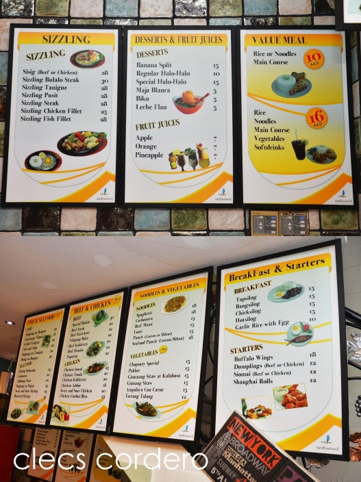 The restaurants menu list.